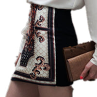 Plus Size Women Vintage Boho Totem Printing  Pencil Skirts Ladies Sexy Floral Stretch Slim Package Tight Summer Mini Skirt