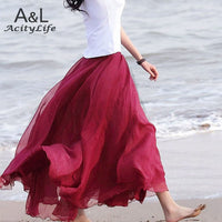 Women Amazing Chiffon Maxi Long Skirt Fashion Hot Sales Bohemian Skirt 7Colors 67