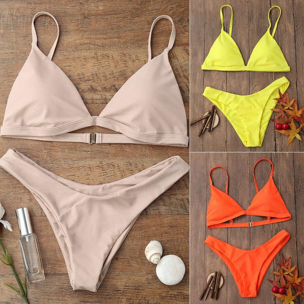 Summer New Swimwear Women Sexy Push Up Padded Bra Bikini Set Tankini Triangle Swimsuit Bathing Suit Beachwear