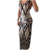 Women Geometric Print Summer Long Maxi Dress Fashion Casual Summer Sleeveless Bodycon Slim Party Dresses Vestidos White