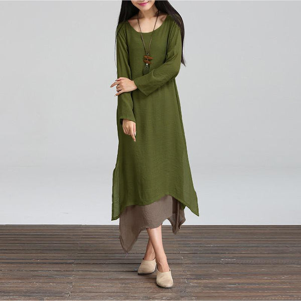 Spring Women Cotton Linen Vintage Dress Ladies O Neck Full Sleeve Casual Loose Boho Long Maxi Dresses Vestidos Plus Size