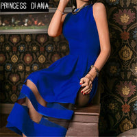 Princess Diana New Style Summer Women Dress Red Sexy Vintage Mesh Patchwork Prom Maxi Dresses
