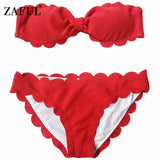 Zaful 2017 Design Bow Bikini Scalloped Hem Bandeau Bikini Set Beach Wear Swimsuit Women Swimsuit beach bathing suit
