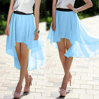 Free Shipping 1 piece Fashion Women's Chiffon Pleated Retro Asymmetrical Swallow Tail Short Elastic Waist Skirt 35