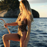 2018 New Sexy Leopard Print Swimwear Halter One Piece Push Up Swimsuit Bandage Bathing Suit Women Bodysuit Beach Wear Monokini