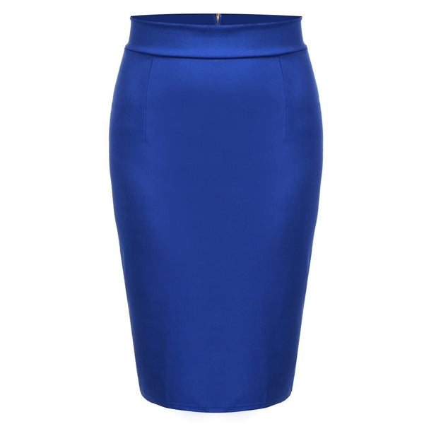 OL Women Slim Fitted Knee Length Pencil Skirt High Waist Straight Multi-color 63