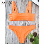 ZAFUL Bikini New Wide Straps Padded Bandeau Bikini Set Sexy Square Neck PulloverTop and Bottoms Brazilian Biquni Women Swimsuit