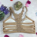 Sports Women Underwear Backless Bra Embroidery Floral Crop Tops Female Bralettes Removable Chest Pad Sexy Lingerie Bras Push Up