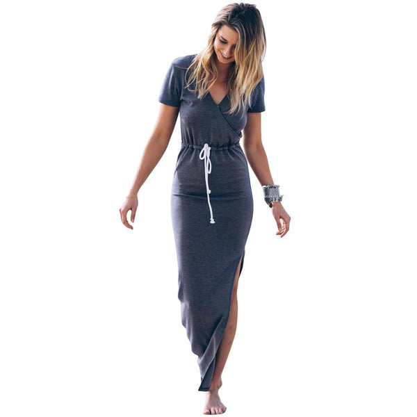 Maxi dress  V neck collect waist slim split long dress casual ladies women summer dress high end summer dresses