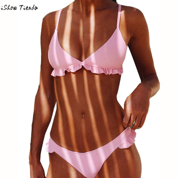 (Ship from US) Register Free Ruffled Bikini Swimwear Women For Swimming Push Up Monokini Swimwear Bikinis Set Beautiful plavky