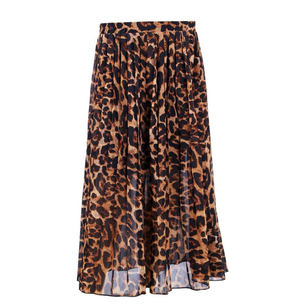 New Arrival Fashion Women's Summer Beach Leopard Casual Chiffon Max Skirt Pleated Long Skirt DF650