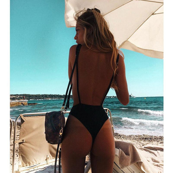 Sexy Swimwear Solid One Piece Thong Swimsuit 2018 Bandage Bathing Suit Women Summer Beach Wear Monokini Halter Bodysuit Swimsuit