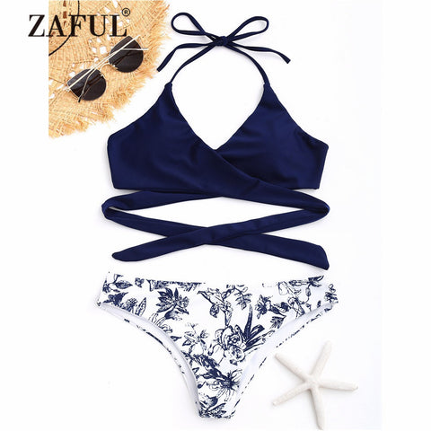 ZAFUL New Women Porcelain Floral Print Wrap Bikini Set Swimwear Women Swimsuit Low Waist Wrap Bathing Suit Padded Bikini