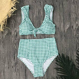 2018 Sexy High Waist Bikini Swimwear Women Swimsuit Plaid Biquini Vintage Bathing Suit Padded Bikinis Women Summer Beach Wear