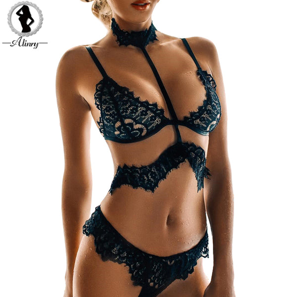 2463ccb35 ALINRY sexy lace bra set women black floral push up transparent bralette  plus size lingerie 2018