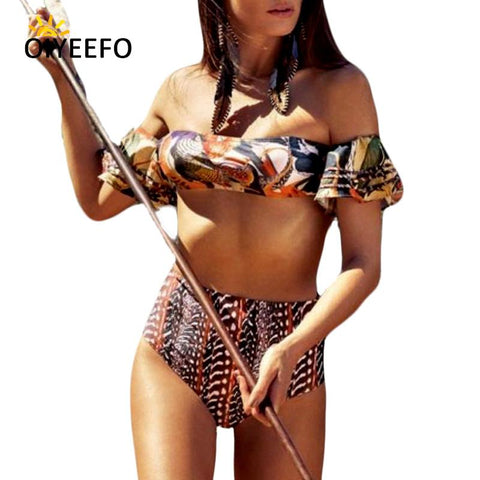 Oiyeefo Bardot African Bikini High Waisted Bathing Suits Women Off Shoulder Beach Bathers May Swimwear Female Plavky XL Swimsuit