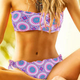 2018 New Bikini Womens Vintage Bandeau Wireless Bikini Halter Lettuce Lace Tribal Floral Bathing Suit Bikini Swimsuit for Womens