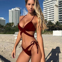 2018 Sexy Criss Cross Bikini Brazilian Bandage Swimsuit Women Push Up Swimwear Bikini Set Wrap Top Bathing Suit Biquini