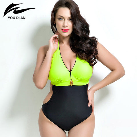 2018 Summer Women Plus Size Swimwear Sexy One Piece Swimsuit Padded Monokini women Bathing Suits Large Bust Swimsuits