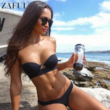 ZAFUL Bikini Sexy Women Strapless Bandeau Push Up Black NewBathing Suit Biquinis Bikini Set Brazilian Bathing Suit Female