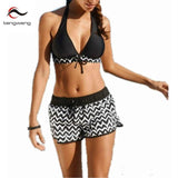 2018 Sexy Women Black Wave Stripe Print Swimwear Push Up Tankini Top Bathing Suit Swimsuit Plus Size Shorts Halter Bikini 4XL