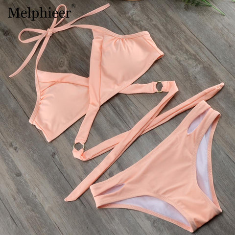 2018 Sexy Monokini Wrap Swimsuit Lady Solid Bikini Bodysuit Bandage Bathing Suit Swimwear Women Pads Bikinis Swim Wear S to XL
