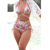 2018 Women Floral Print Bikini famale Brazilian Swimsuits high waist Bandage Bikini Set Bathing Suits Female Biquini mujer #cz