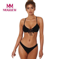 2018 New Sexy Bikini Push Up Swimwear Women Swimsuit Solid Bikini Set Beach Wear Black and White Bathing Suits Swim Wear