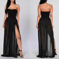 Women Strapless Sleeveless Off Shoulder High Waist Side Slit Long Dress Sexy Beachwear Party Clubwear Vestido u2