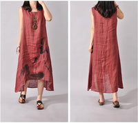 G62 New  Summer style Women Sleeveless linen Cotton Dress loose Casual Maxi Dress Ink Printing long dress Plus Size Vestidos
