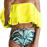 2018 Women Bikini Set Off Shoulder Biquini Bathing Suit Swimwear Swimsuit Beach Suit with Padded Push-Up solid summer two pieces