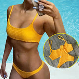 2018 Hot Pleated Triangle Girls Bikini Set Brazilian Thong Femme Bathing Suit Bandeau Swimwear Women Yellow Sexy Bikini Swimsuit