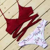 2018 Wrap Bikini Bandage Bikini Set Cross String Floral Triangle Halter Swimwear Women Low Waist Bathing Suit Brazilian Swimsuit