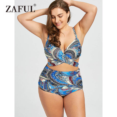 ZAFUL Bikini Plus Size Wrap Underwire Bikini Swimwear High Waist Bikini Women Push Up Bathing Suit Large Size Swimsuits