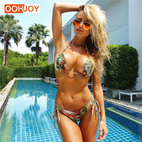 2018 New Sexy Snakeskin Pattern Bikini Swimsuit Women Rope Tied Bathing Suit S-L Girl Swimwear Brazilian Halter Summer Trikini