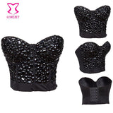 Punk Rave Clubwear Black Handmade Beaded Bralet Bustier Strapless Bralette Top Women Sexy Brassiere Bra Push Up Exotic Bras XXL