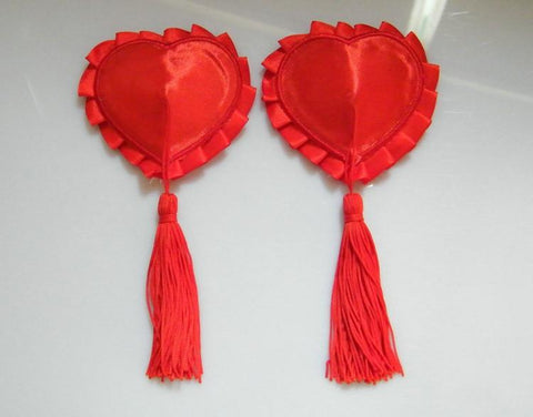 Ladies Sexy Red Heart Tassels Stick On Pasties Breast Petals Nipple Covers Women Mini Bra Intimates Clubwear free shipping