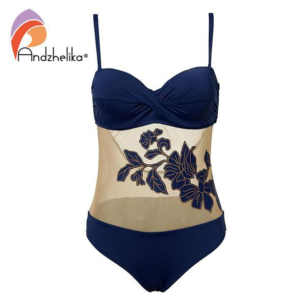 Andzhelika Bikini Push Up Swimwear 2018 New Sexy Floral Mesh One Piece Swimsuit Women Bathing Suit Plus Size Swimwear Monokini
