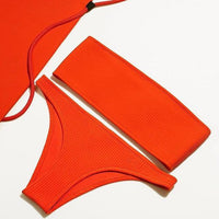 2018 Strapless Bikinis Set Solid Color Sexy Women Swimwear Padded Bra Bikini Triangle Bottom Swimsuits Bathing Suit Beachwear