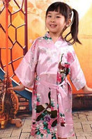 Satin Pajama Kid / Children Sleepwear Wedding Flower girls Gown High Quality Kimono Robes Peacock Nightgown