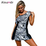 Aleumdr Swimsuit Bikinis Women 2018 One Piece Bathing Suit One Shoulder Swim Dress With Shorts LC410210 Traje De Bano Mujer