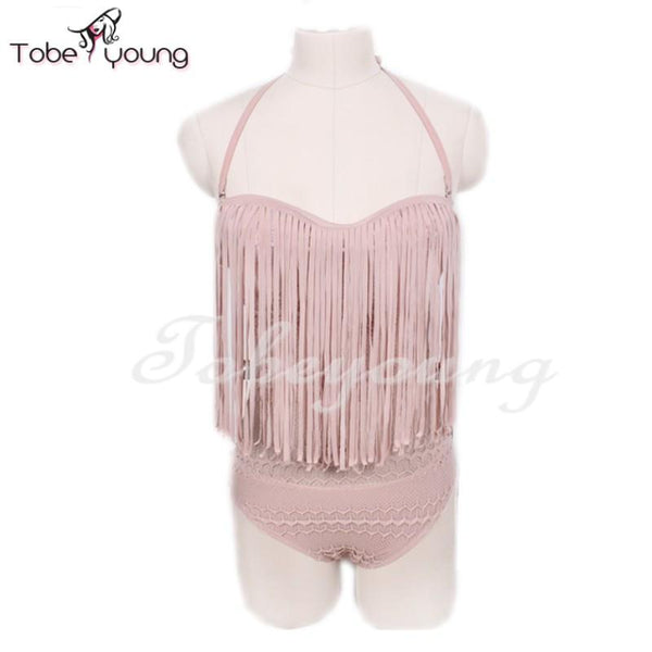 Tobeyoung Womens Sexy Halter See Through Cut Out Lace Tassel Padded Brazilian One Piece Monokini Swimsuit Bathing Suit Swimwear