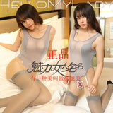 Women's Sexy Ice Silk One Piece Swimwear High Cut See through Swimsuit Club Erotic Lingerie Sexy Wear Crotch Open With Stock