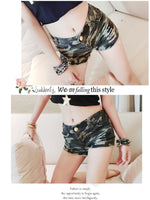 Shorts jeans feminino Fashion basic new board shorts Women Loose Drawstring hot Short pants Camouflage jeans shorts GRS-8109