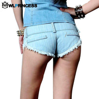 Owlprincess HOT Short Tide Denim Skinny Shorts Summer Hole Destroyed Lady's Club Dance Low Waisted Jean Mini Short Feminino