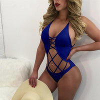 83d467dfd8 Stylish Halter Lace Up Bandage Backless One Piece Swimsuit Women No Pad  Criss Cross Hollow Out