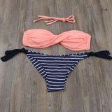 2018 Summer Women Bikinis Set Sexy Striped Swimwear Strappy Brazilian Bikini Beach Bandeau Swimsuit Push Up Bathing Suit XL E607