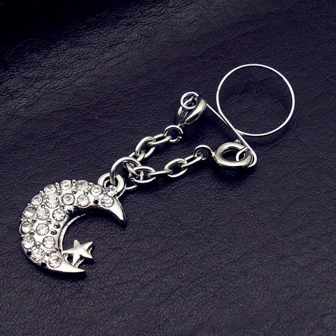 2pcs Sexy Non pierced Clip On Nipple Ring Jewelry Fake Nipple Shield moon star Dangle Adjustable Body Jewelry
