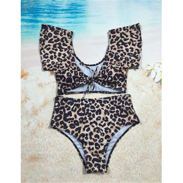 2018 Women High Waist Bikini Set Leopard Print Push Up Swimwear Lady V Neck Swimsuit Bathing Suit Swimwear maillot de bain Femme