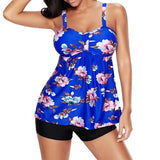 2018 New Sexy Floral Print Women Tankini Swimwear Two Piece Plus size Swimsuit Shorts Push up Female Bathingsuit Skirt Beach 4XL